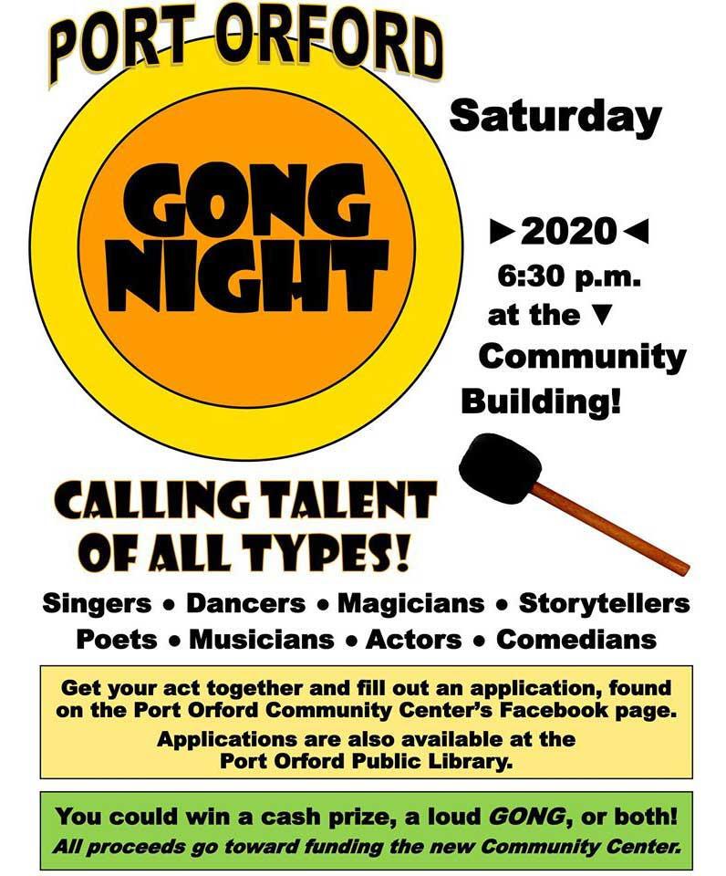 Gong Night. Port Orford Community Center